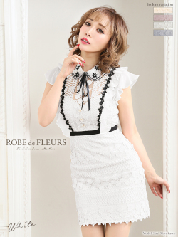 【XSサイズあり】ビジュー襟リボン×立体刺繍レースタイトミニドレス(fm1803)