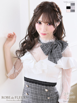 【XSサイズあり】グレンチェック×首元リボンタイトミニドレス(fm1870)