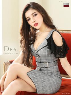 【Lサイズあり】グレンチェック×ジャケット襟風デザインタイトドレス(DE1909)