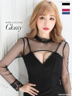 【XSサイズあり】片サイドスリット編み上げ×ロングスリーブタイトミニドレス(GL2064)