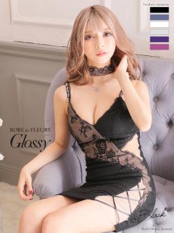 【XSサイズあり】チュール切替×アシンメトリータイトミニドレス♡[チョーカー付き](GL2069)