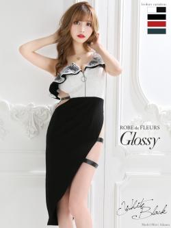 【XSサイズあり】チュール切替×アシンメトリータイトドレス(GL2107)
