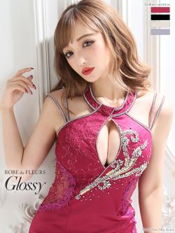 【XSサイズあり】スパンコールレース×ホルターネックタイトミニドレス(GL2194)