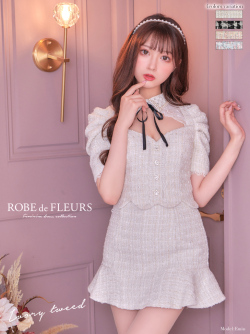【XSサイズあり】パール襟×ツイードスカートパンツセットアップドレス(fm2429)