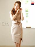 【Lサイズあり】ウエストリボンストレッチタイトドレス(DE1154)