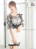 【XS〜Lサイズあり】フラワー刺繍レース×オフショルタイトミニドレス(fm1594)
