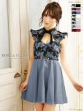 【Lサイズあり】フラワー刺繍レース×ローズジャガードフレアミニドレス[ベルト付き](fm1609)