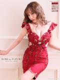 【XS〜Lサイズあり】フラワー刺繍チュールレース×タイトミニドレス(fm1640)