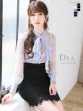 【Lサイズあり】ブラウスデザイン×バイカラータイトミニドレス(DE1682)