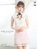 ローズコサージュ×フラワージャガード台形ミニドレス(fm1719)