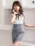 【Lサイズあり】襟リボン×五分袖レース切替ミニドレス(DE1766)