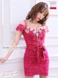 【XSサイズあり】立体フラワーモチーフ×オフショルタイトドレス【リボンベルト付】(fm1778)