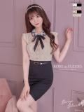 【XS・Lサイズあり】ビジュー襟リボン×ピンドットタイトミニドレス[ベルト付き](fm1780)