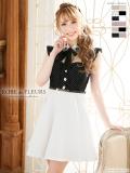 【XS・Lサイズあり】ビジュー襟リボン×ピンドットタフレアミニドレス[ベルト付き](fm1787)