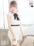 【XSサイズあり】総刺繍レース×ハイネックリボンタイトミニドレス(fm1823)