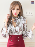 【XS~Lサイズあり】マリン風×スカーフ柄タイトミニドレス(DE1851)