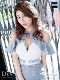 【Lサイズあり】バイカラー切替×フリルオフショルタイトドレス(DE1862)