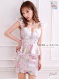 花柄ジャガード×ペプラムストレッチタイトミニドレス(fm1891)