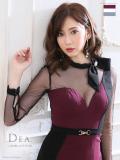 【Lサイズあり】バイカラー切替×ベルトデザインタイトドレス(DE1898)