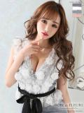 【XSサイズあり】立体フラワー×ペプラムタイトドレス【リボンベルト付】(fm1902)