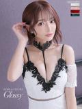 【XSサイズあり】スパンコールビーズ付き刺繍レース×タイトミニドレス[チョーカー付き](GL1969)