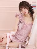 【XSサイズあり】ジュエリー×リボンタイトミニドレス(fm2160)