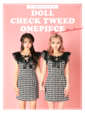 【XSサイズあり】ドールチェックツイードワンピースドレス(fm2178)