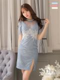 【Lサイズあり】パール付きフリルx総レースタイトドレス(DE2354)
