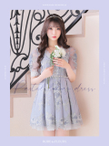 【Lサイズあり】フラワー刺繍レース×ラグジュアリーフレアミニドレス(fm2424)