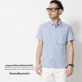 【SALE】【hanakazari/ハナカザリ】段違いジャガード浮きポケット半袖シャツ◆4024