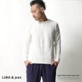 【SALE】【LUKA&jean】日本製フランスリネンフィッシャーマン切り替え鹿の子編みニットソー◆4165