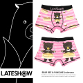 【LATESHOW/レイトショー】BEAR BEE & PANCAKEクマ柄デザイン吸水速乾ボクサーパンツ◆4639