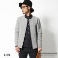 【LISS/リス】日本製/国産ダブルフェイス紡毛ウールフェルトノーカラージャケット◆4830