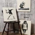 【Banksy】日本製banksyファブリックパネル/バンクシー◆5641