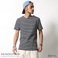 【SALE】【Revo./レヴォ】堅仕上げコットンボートネックボーダー半袖Tシャツ◆5962