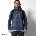 【grn/ジーアールエヌ】デニムツイルジップパーカー◆6312