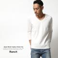 【Ranch.daily wear products】日本製/国産丸胴度詰め天竺VネックTee◆6336