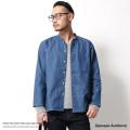 【Upscape Audience】日本製/国産綿麻デニムマオカラーシャツジャケット◆6917