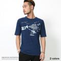 【SALE】インディゴスラブ天竺クルーネックポケットTシャツ◆7189