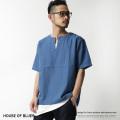 【SALE】【HOUSE OF BLUES】インディゴ染めキーネックプルオーバー◆7193