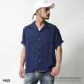 【M&S/エムアンドエス】コットンツイル半袖オープンカラーシャツ◆7355