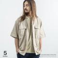綿麻ストレッチビッグワークシャツ◆9525