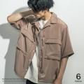 ポリビッグポケットオーバーサイズオープンカラーシャツ◆9544