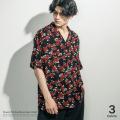 フラワープリントオープンカラーシャツ◆9546