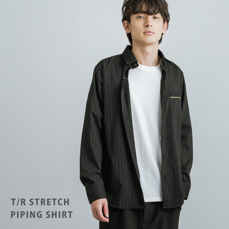 T/Rストレッチゴールドパイピングシャツ◆11221