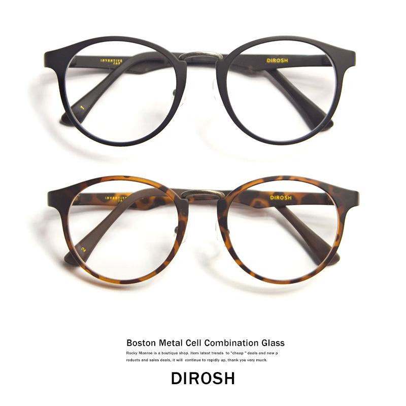 【DIROSH/ディロッシュ】ハードケース付きメタル&セルコンビ軽量ボストンメガネ◆4506