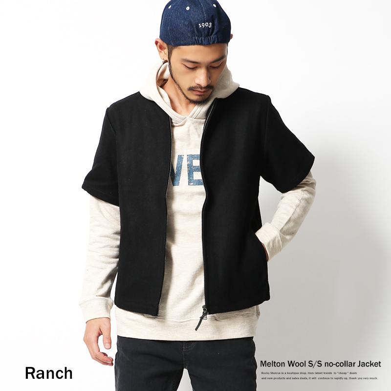 【Ranch】メルトンウール半袖ジャケット◆4956