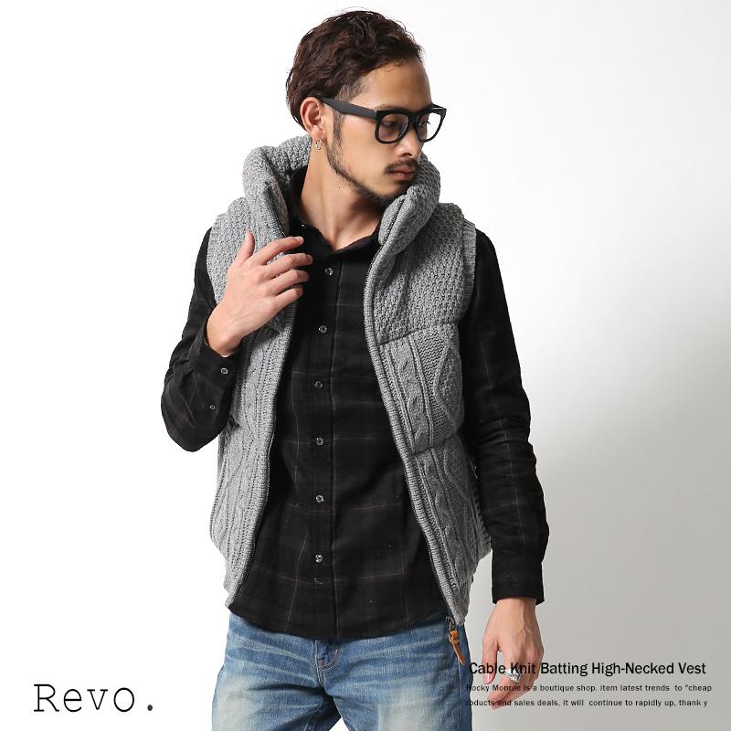 【Revo.】ハイネックケーブルニット中綿ベスト◆5006
