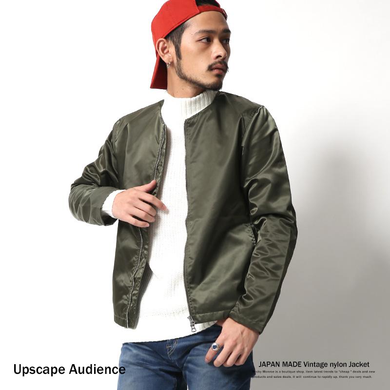 【Upscape Audience】国産/日本製ヴィンテージナイロンノーカラージャケット◆6346