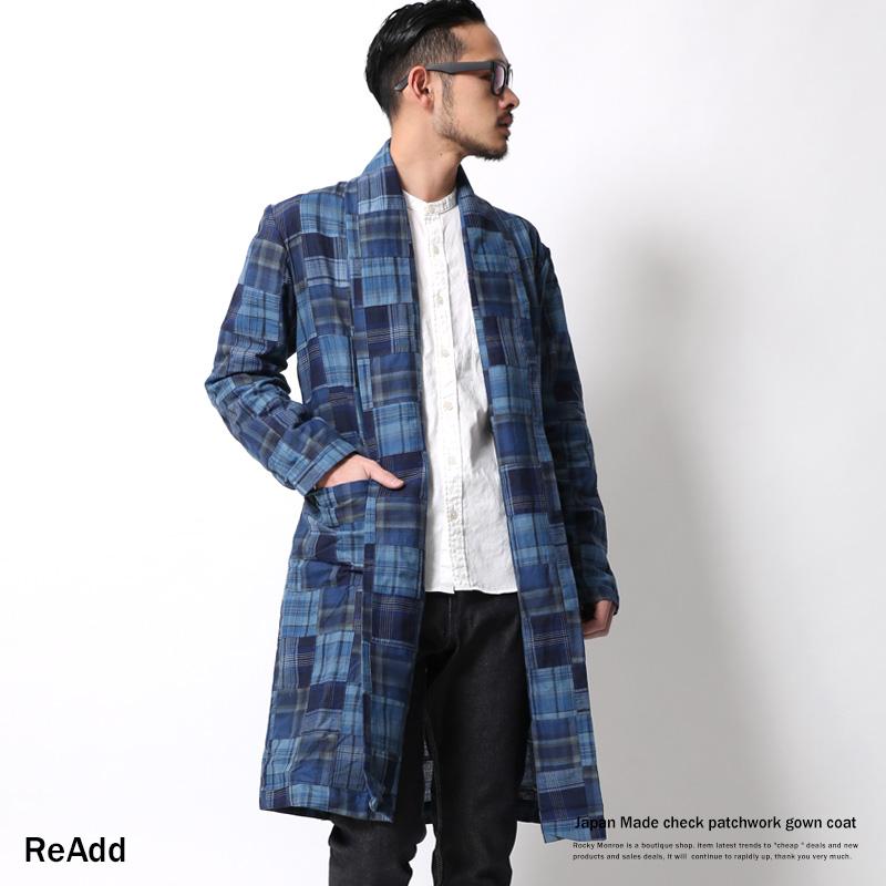 【ReAdd/リアッド】日本製/国産パッチワークガウンコート◆6897